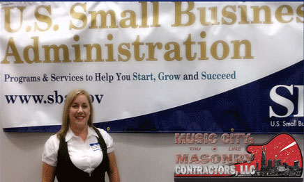 Brandy George & Music City Tru-Line Masonry Contractors, LLC. are the proud receipients of the 2011 Tennessee SBA Jeffery Butland Family Owned Business of the Year Award.